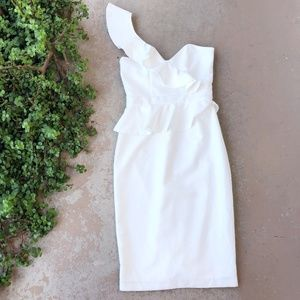 Bardot Camilla White One Shoulder Sheath Dress